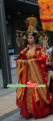 Chinese The Sixth Patriarch Huineng Court Queen Dance Red Dress Stage Performance Costume and Headpiece for Women