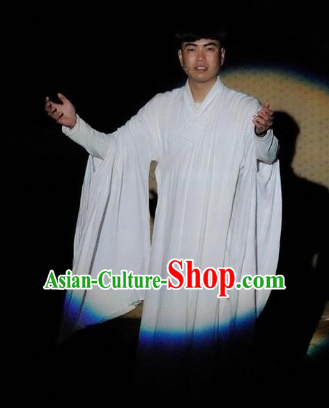 Chinese Impression Putuo Monk White Robe Stage Performance Costume for Men