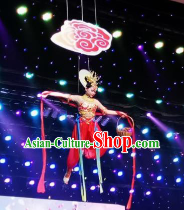 Chinese Picturesque Huizhou Classical Peri Dance Red Dress Stage Performance Costume and Headpiece for Women