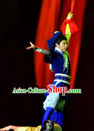 Chinese Picturesque Huizhou Ancient Swordsman Dance Clothing Stage Performance Costume for Men