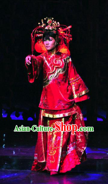 Chinese Picturesque Huizhou Wedding Bride Dance Red Dress Stage Performance Costume and Headpiece for Women