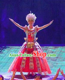 Chinese Phoenix Timeless Love Tujia Nationality Dance Red Dress Stage Performance Costume and Headpiece for Women