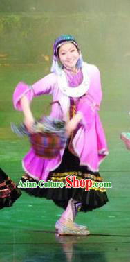 Chinese Charm Xiangxi Miao Nationality Dance Lilac Dress Stage Performance Costume and Headpiece for Women