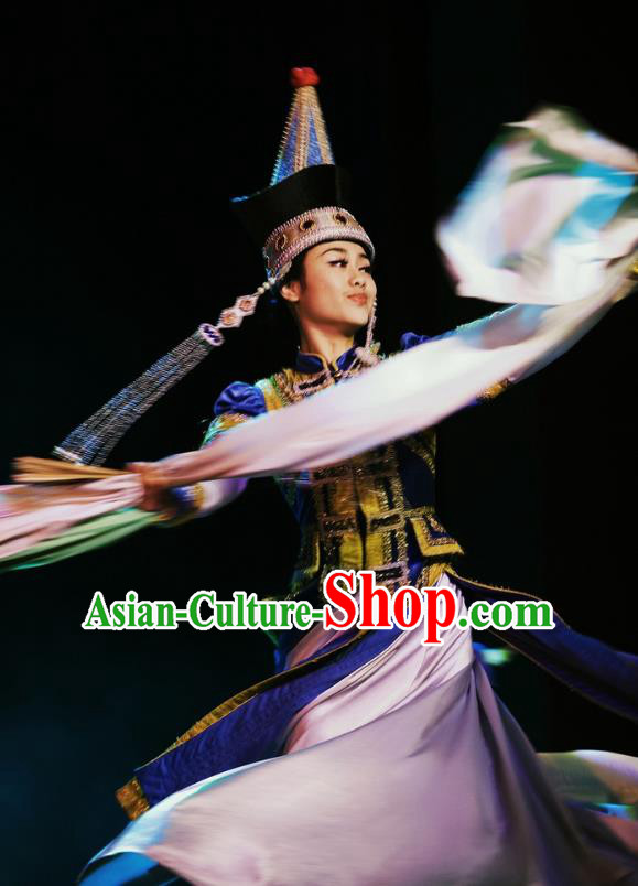 Chinese Oriental Apparel Mongol Nationality Dance Royalblue Dress Stage Performance Ethnic Costume and Headpiece for Women