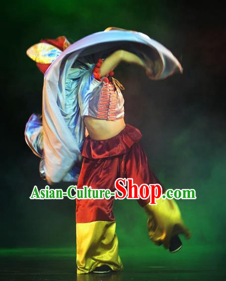 Chinese Oriental Apparel Yi Nationality Clothing Stage Performance Dance Costume for Men