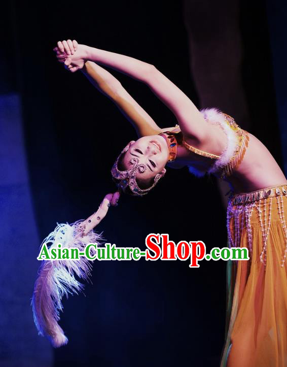 Chinese Oriental Apparel Nationality Dance Yellow Dress Stage Performance Ethnic Costume and Headpiece for Women