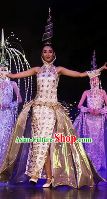 Chinese Oriental Apparel Classical Dance White Dress Stage Performance Ethnic Costume and Headpiece for Women