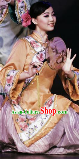Chinese Oriental Apparel Fan Dance Yellow Dress Stage Performance Ethnic Costume for Women