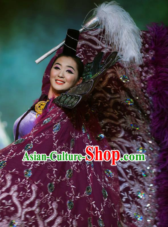 Chinese Oriental Apparel Classical Dance Purple Dress Stage Performance Ethnic Costume and Headpiece for Women