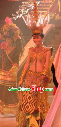 Chinese Oriental Apparel Indian Dance Dress Stage Performance Costume and Headpiece for Women