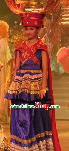 Chinese Oriental Apparel Indian Dance Royalblue Dress Stage Performance Costume and Headpiece for Women