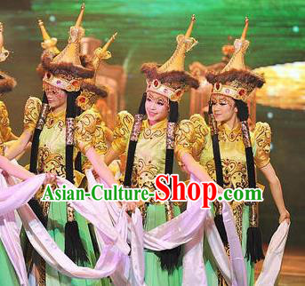 Chinese Oriental Apparel Mongolian Nationality Dance Dress Stage Performance Costume and Headpiece for Women