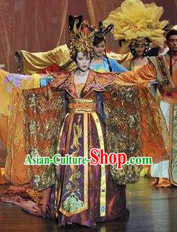 Chinese Oriental Apparel Court Queen Classical Dance Dress Stage Performance Costume and Headpiece for Women