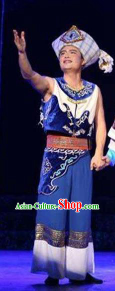 Chinese Thorn Quinoa Flowers Tujia Nationality Blue Clothing Stage Performance Dance Costume for Men