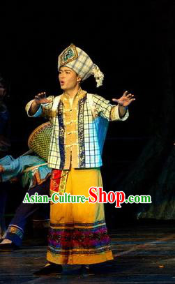 Chinese Thorn Quinoa Flowers Tujia Nationality Yellow Clothing Stage Performance Dance Costume for Men