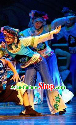 Chinese Thorn Quinoa Flowers Tujia Nationality Dance Blue Dress Stage Performance Costume and Headpiece for Women