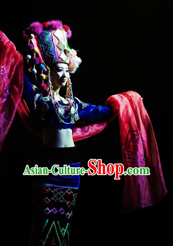 Chinese Oriental Apparel Wa Nationality Dance Dress Stage Performance Ethnic Costume and Headpiece for Women