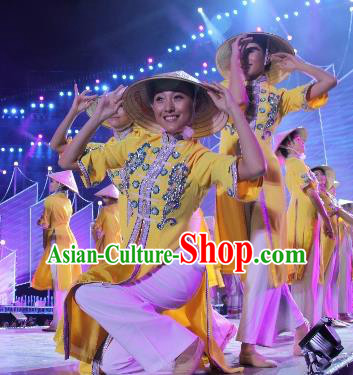 Chinese The Dream Of The Beibu Gulf Yao Nationality Dance Yellow Dress Stage Performance Costume and Headpiece for Women