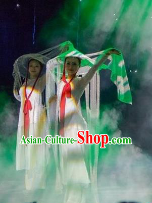 Chinese Dream Like Lijiang Dance White Dress Stage Performance Costume and Headpiece for Women