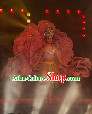 Chinese Dream Like Lijiang Ethnic Dance Dress Stage Performance Costume and Headpiece for Women