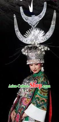 Chinese Xijiang Grand Ceremony Miao Nationality Bride Wedding Dress Stage Performance Costume and Headpiece for Women
