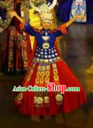 Chinese Xijiang Grand Ceremony Miao Nationality Bride Wedding Red Dress Stage Performance Costume and Headpiece for Women