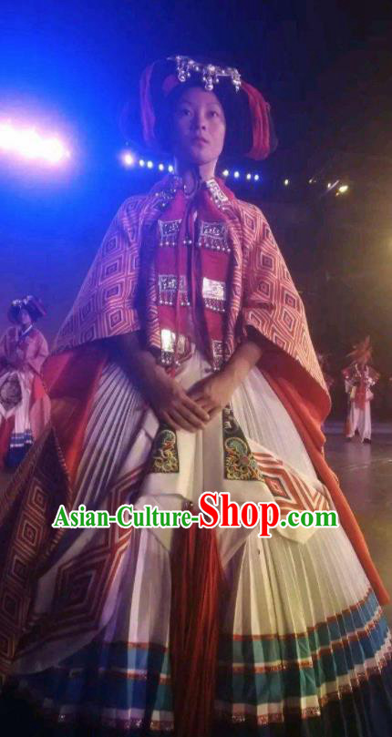 Chinese Xijiang Grand Ceremony Miao Nationality Dance White Dress Stage Performance Costume and Headpiece for Women