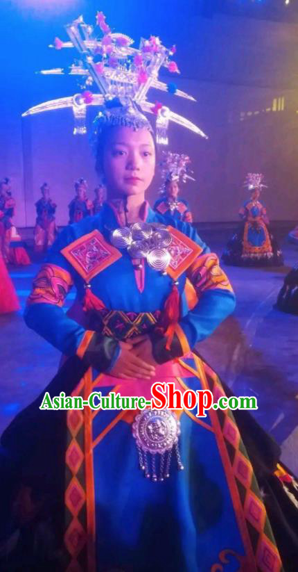 Chinese Xijiang Grand Ceremony Miao Nationality Dance Blue Dress Stage Performance Costume and Headpiece for Women