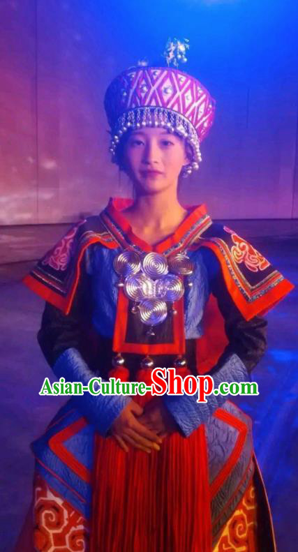 Chinese Xijiang Grand Ceremony Miao Nationality Dance Wedding Dress Stage Performance Costume and Headpiece for Women