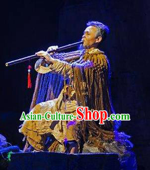 Chinese Border Town Miao Nationality Boatman Clothing Stage Performance Dance Costume for Men