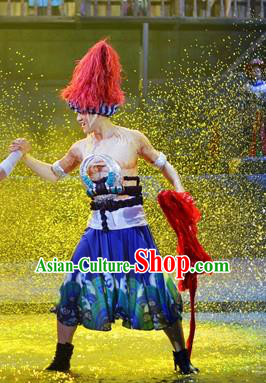 Chinese Border Town Miao Nationality Clothing Stage Performance Dance Costume for Men