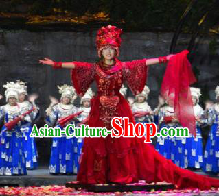 Chinese Border Town Miao Nationality Wedding Dance Red Dress Stage Performance Costume and Headpiece for Women