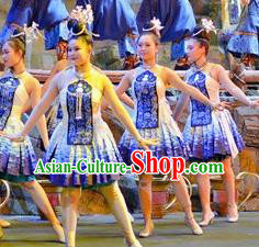 Chinese Border Town Miao Nationality Folk Dance Blue Dress Stage Performance Costume and Headpiece for Women