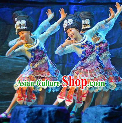 Chinese Border Town Miao Nationality Dance Dress Stage Performance Costume and Headpiece for Women