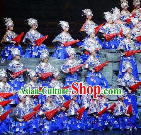 Chinese Border Town Miao Nationality Dance Wedding Blue Dress Stage Performance Costume and Headpiece for Women