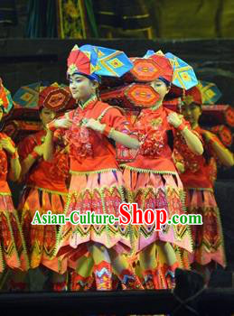 Chinese Border Town Miao Nationality Dance Red Dress Stage Performance Costume and Headpiece for Women