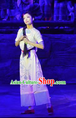 Chinese Border Town Miao Nationality Cui Cui Dance Dress Stage Performance Costume and Headpiece for Women