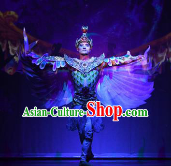 Chinese The Ancient Dunhuang Music Theatre General Feather Clothing Stage Performance Dance Costume for Men