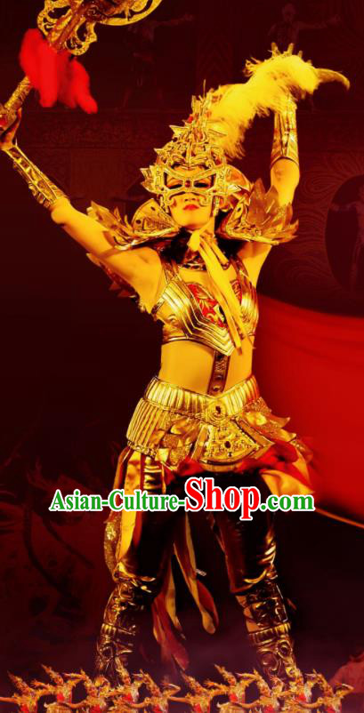 Chinese Golden Mask Dynasty Female Warrior Dance Dress Stage Performance Costume and Headpiece for Women