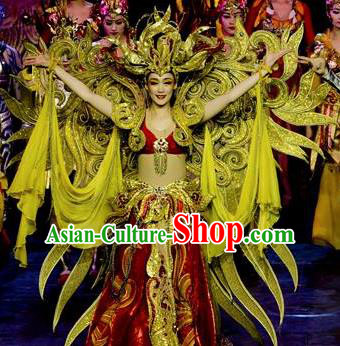 Chinese Golden Mask Dynasty Queen Dance Red Dress Stage Performance Costume and Headpiece for Women