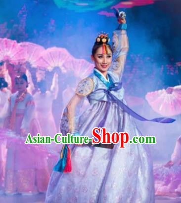 Chinese Oriental Apparel Korean Nationality Dance Blue Dress Stage Performance Costume and Headpiece for Women