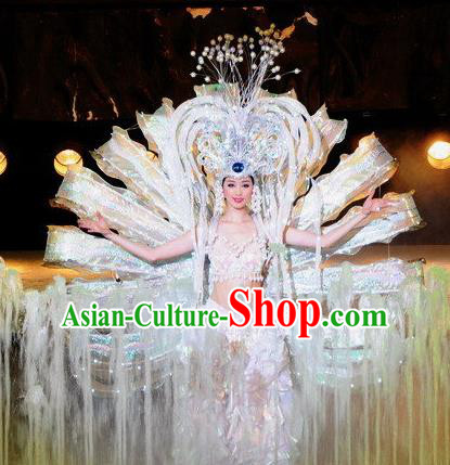 Chinese Dragon Phoenix Dance White Dress Stage Performance Costume and Headpiece for Women