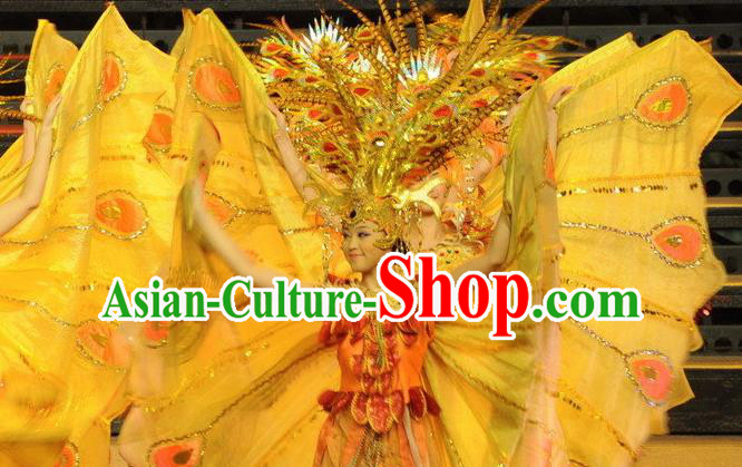 Chinese Dragon Phoenix Dance Butterfly Wing Dress Stage Performance Costume and Headpiece for Women