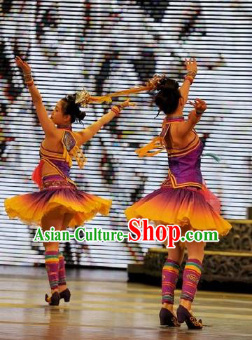 Chinese Wind Of Colorful Guizhou Dong Nationality Ethnic Dance Purple Dress Stage Performance Costume and Headpiece for Women