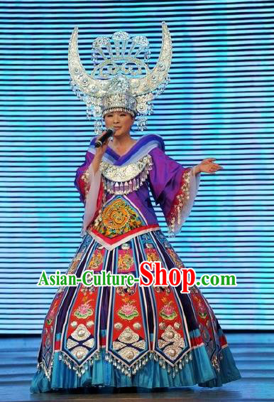 Chinese Wind Of Colorful Guizhou Miao Nationality Ethnic Dance Purple Dress Stage Performance Costume and Headpiece for Women