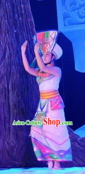 Chinese The Moon Rising On The Helan Mountain Hui Nationality Ethnic Dance White Dress Stage Performance Costume and Headpiece for Women