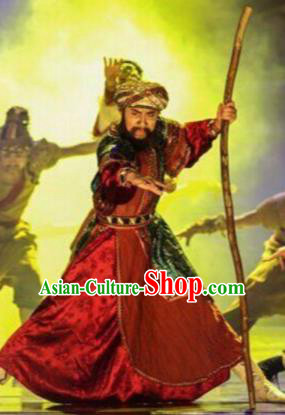 Chinese The Moon Rising On The Helan Mountain Hui Nationality King Dance Red Clothing Stage Performance Costume for Men