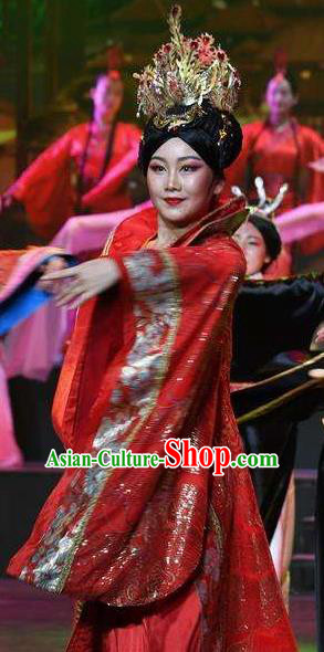 Chinese Han Wind Float In The Sky Han Dynasty Classical Dance Red Dress Stage Performance Costume and Headpiece for Women