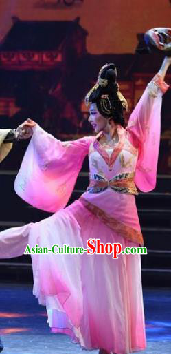 Chinese Han Wind Float In The Sky Han Dynasty Classical Dance Pink Dress Stage Performance Costume and Headpiece for Women