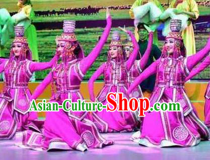 Chinese Saihan Tara Mongol Nationality Dance Purple Dress Stage Performance Costume and Headpiece for Women